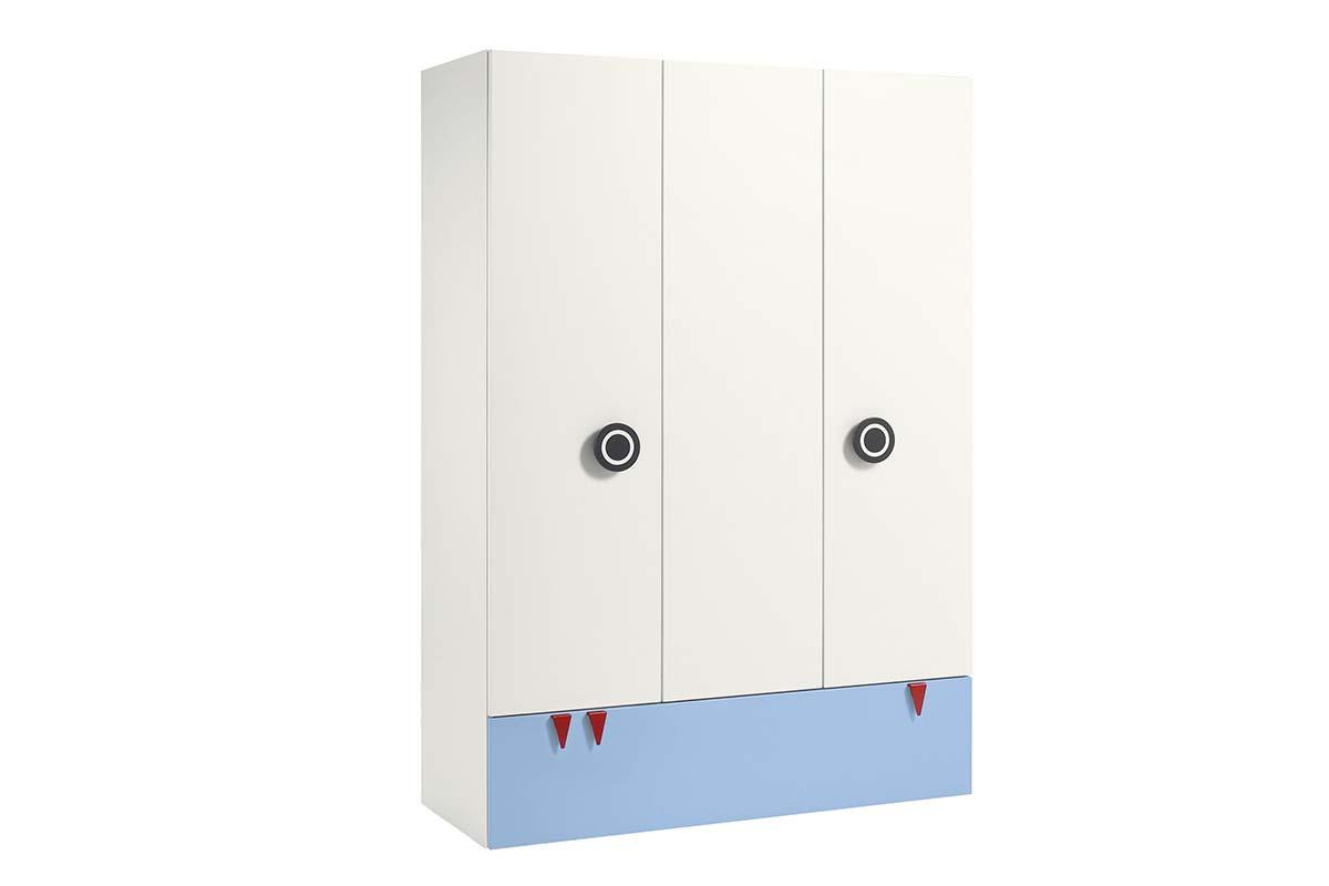Kleiderschrank, 3 Türen, 1 Schublade in hellblau, 4039853281836
